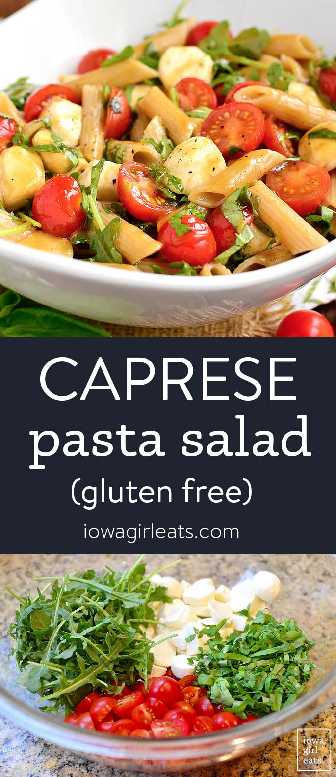 Photo collage of caprese pasta salad