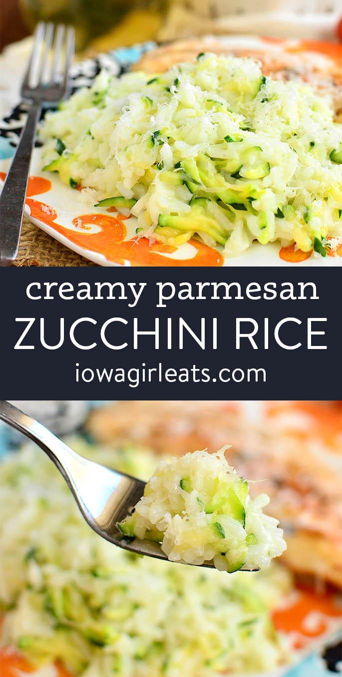 photo collage of creamy parmesan zucchini rice