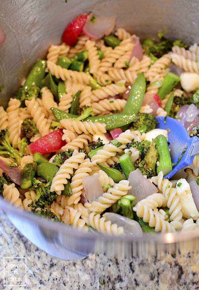 Pasta-with-Roasted-Spring-Vegetables-and-Marinated-Mozzarella-iowagirleats-11