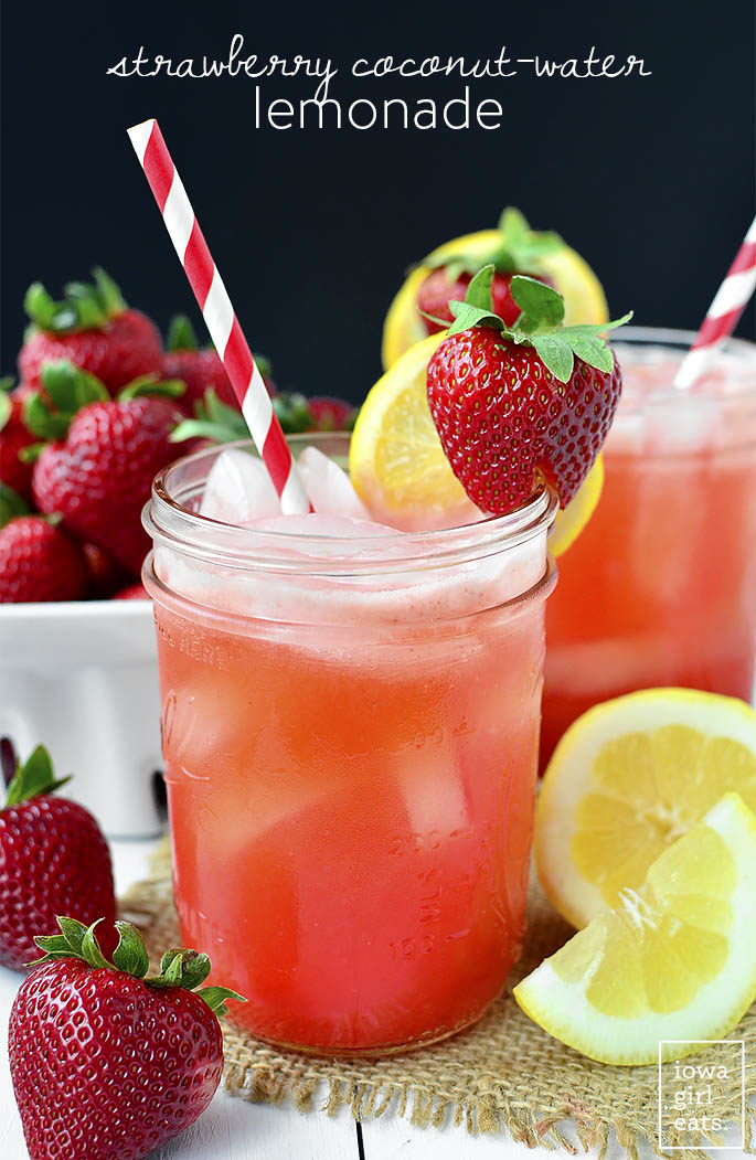 Strawberry Coconut-Water Lemonade is a sweet-tart summery drink made with fresh strawberries and lemons, and ultra-refreshing coconut water. | iowagirleats.com