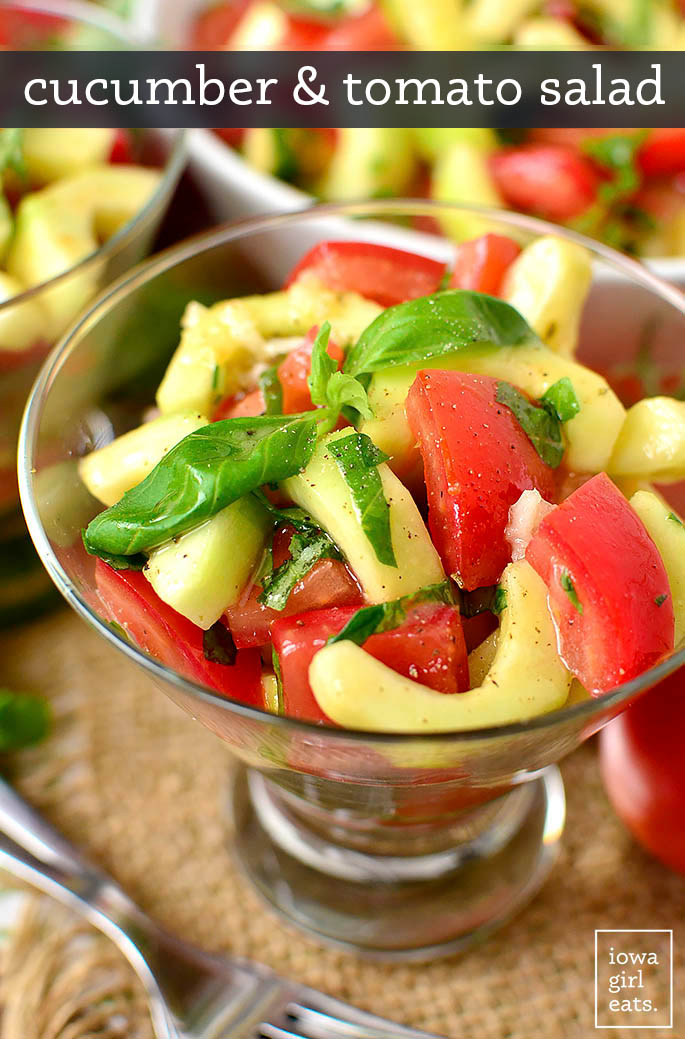 cucumber and tomato salad in a glass