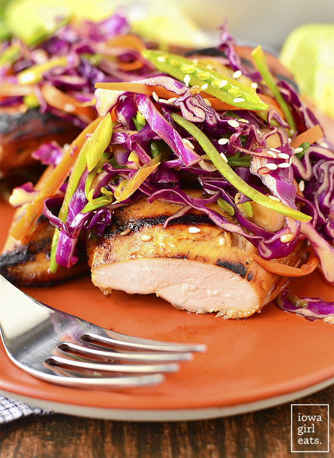 Asian Grilled Chicken with Snap Pea Slaw is a healthy, gluten-free grilling recipe full of crunch and flavor! | iowagirleats.com