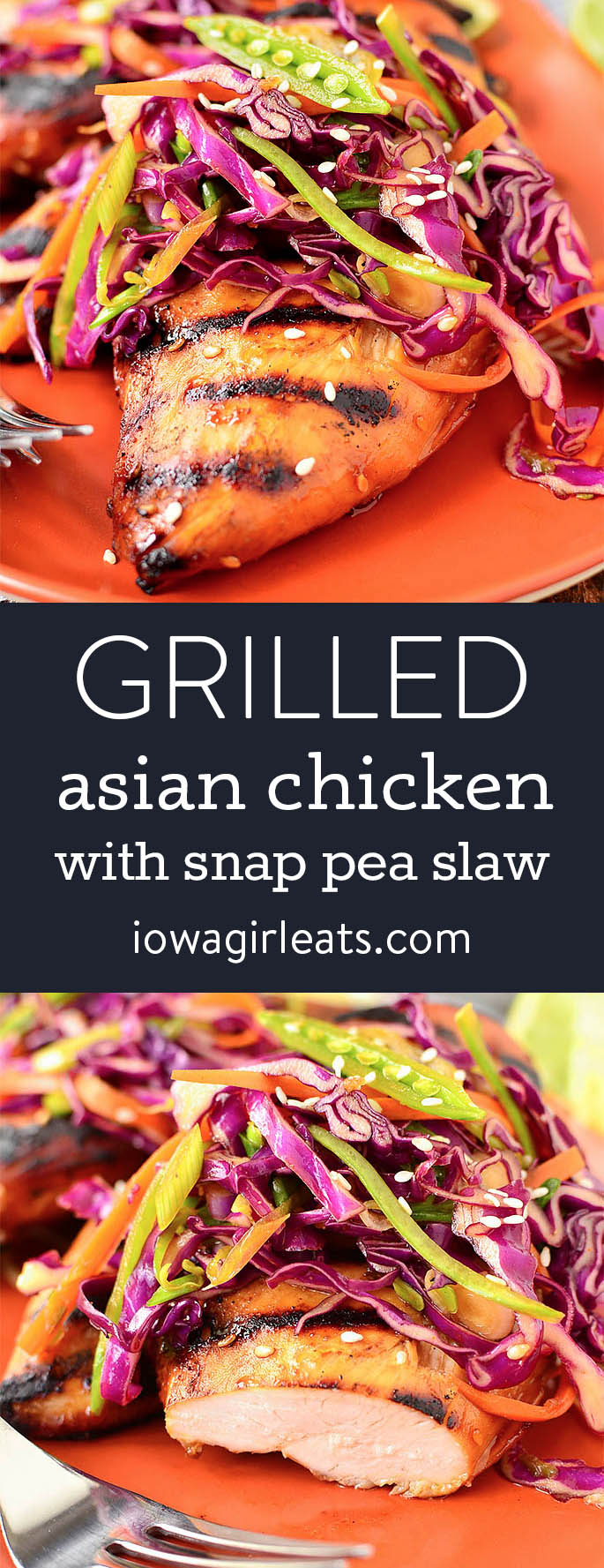 Photo collage of grilled asian chicken