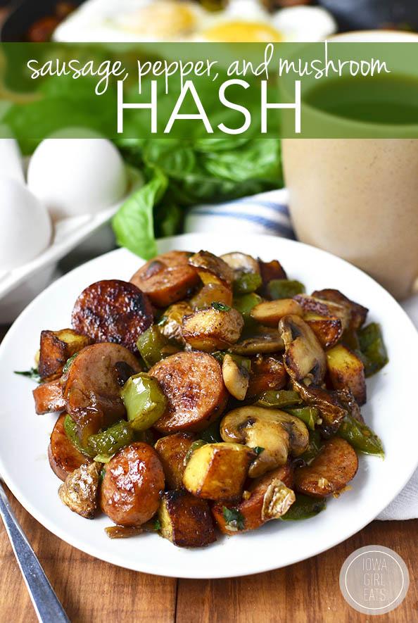 Sausage, Pepper and Mushroom Hash | iowagirleats.com