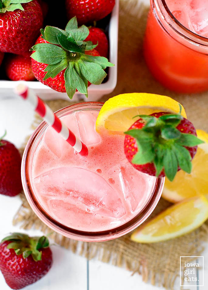 overhead photo of a class of strawberry coconut water lemonade