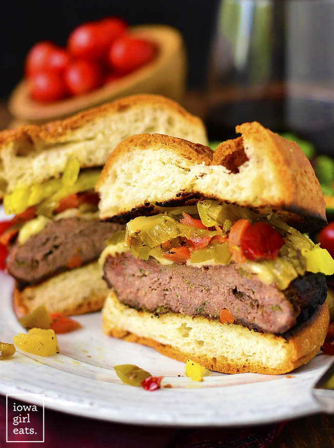 Chicago-Style Italian Burgers are a zesty, gluten-freegrilling recipe packed with savory flavor. Grill indoors or out then top with melty cheese and tangy pickled peppers. | iowagirleats.com