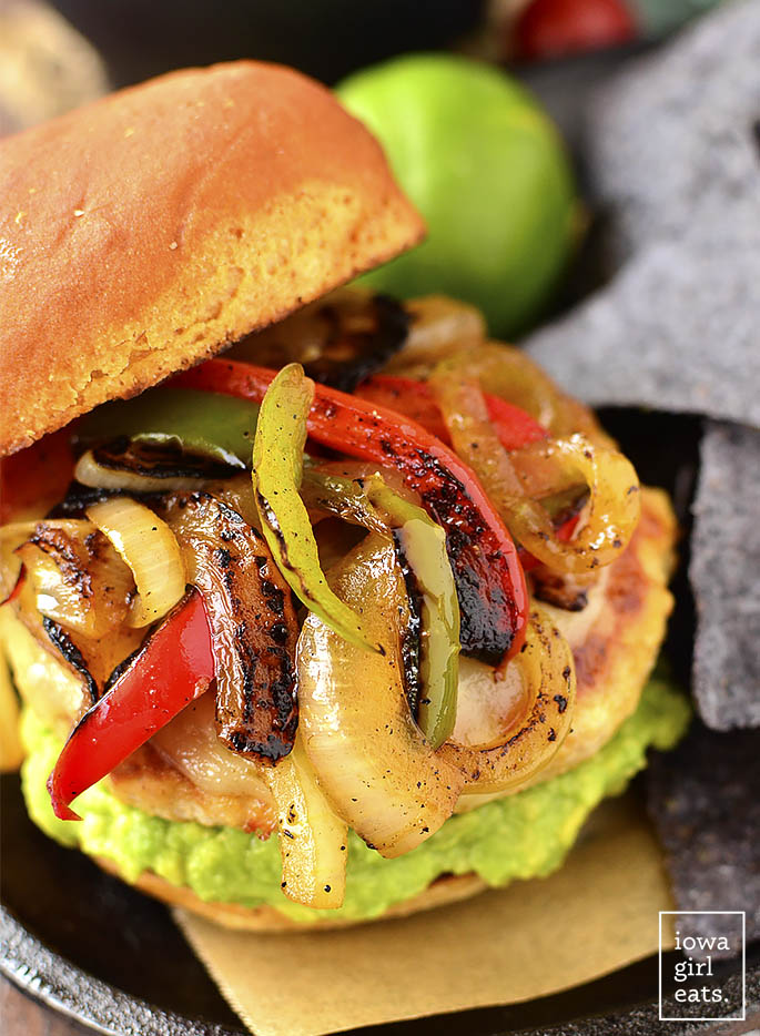 Chicken Fajita Cheeseburgers are a festive and fun gluten-free dinner recipe! Grill outdoors or in a skillet indoors. | iowagirleats.com