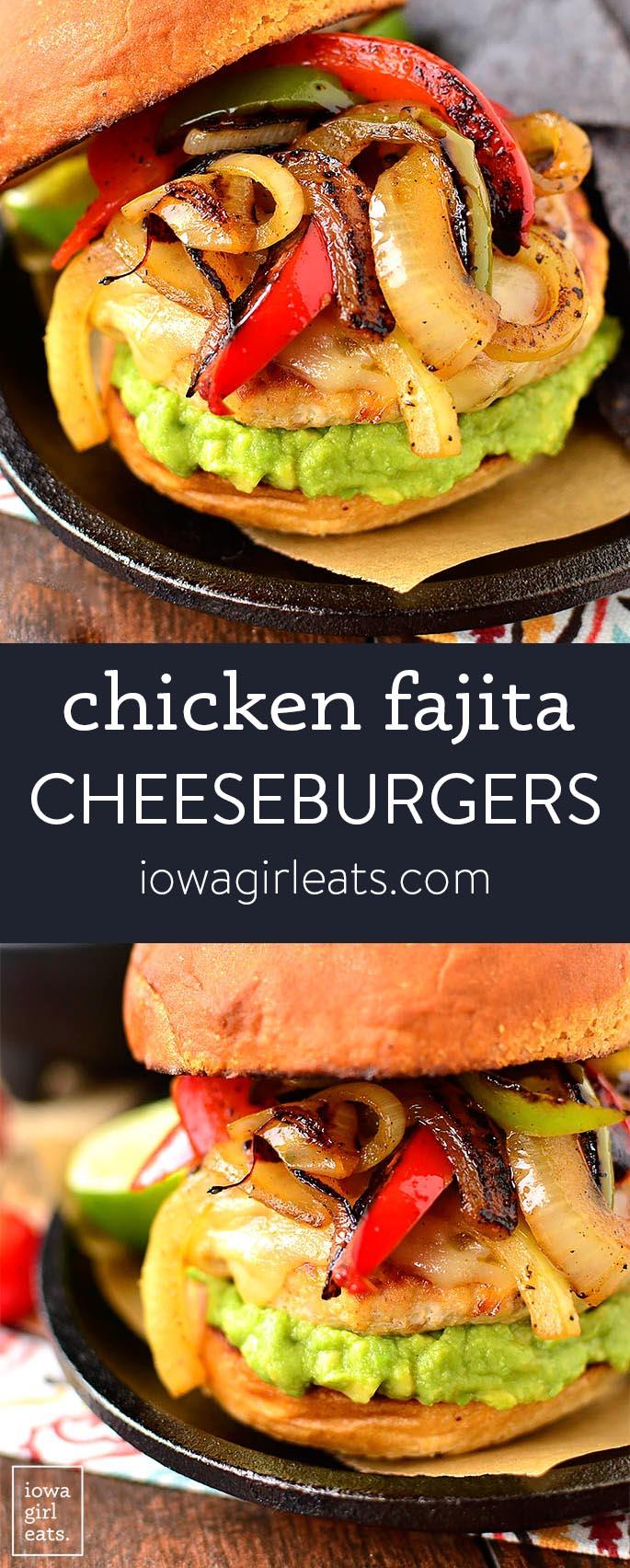 Photo collage of chicken fajita cheeseburgers