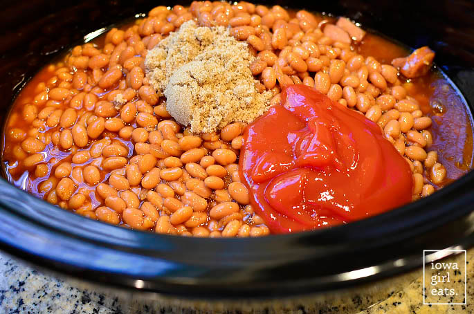 ingredients for baked beans in a crock pot