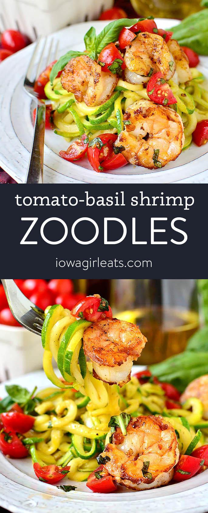 Photo collage of tomato basil shrimp zoodles