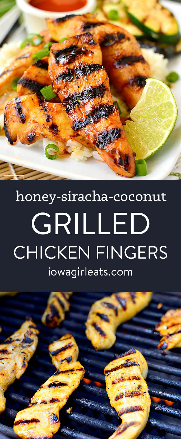 Photo collage of honey siracha coconut grilled chicken fingers