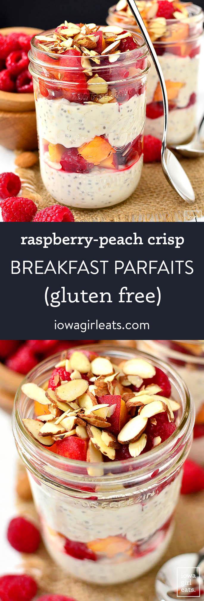 Photo collage of raspberry peach crisp breakfast parfaits