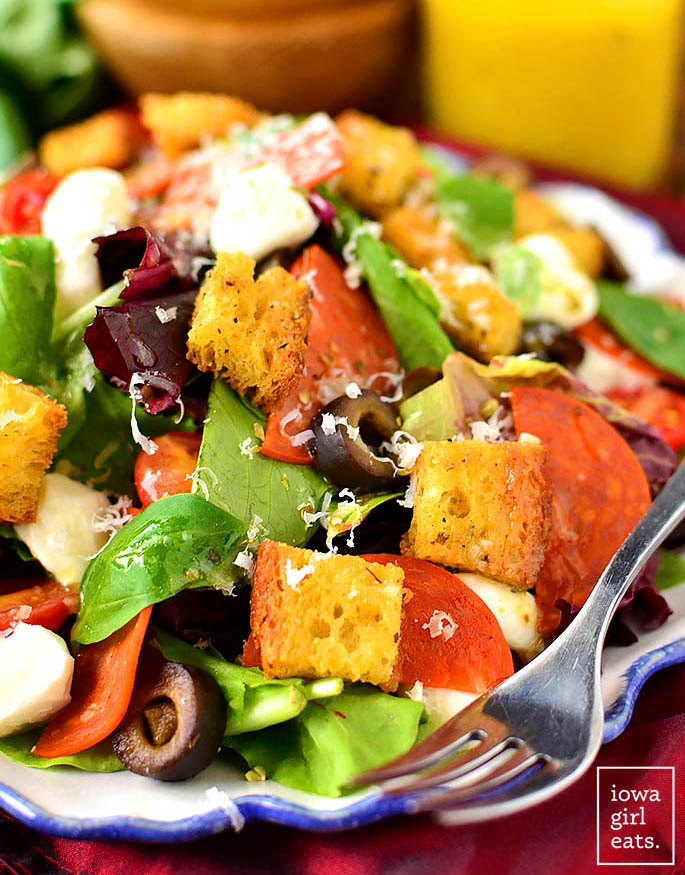 Gluten Free croutons on a pizza salad