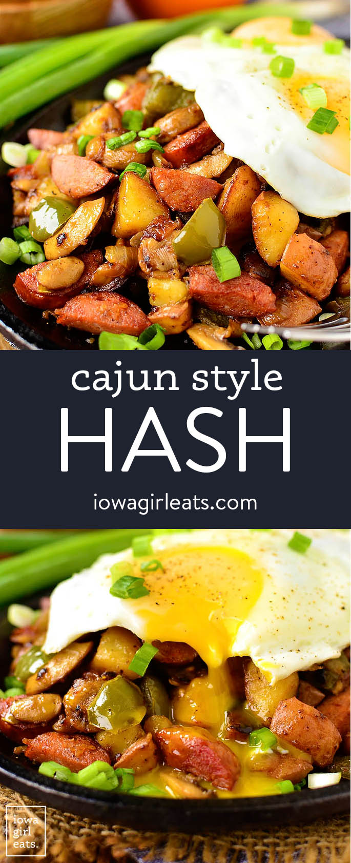 photo collage of cajun style hash