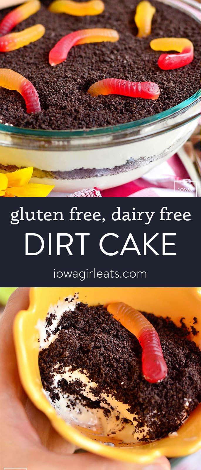 Photo collage of gluten free dairy free dirt cake