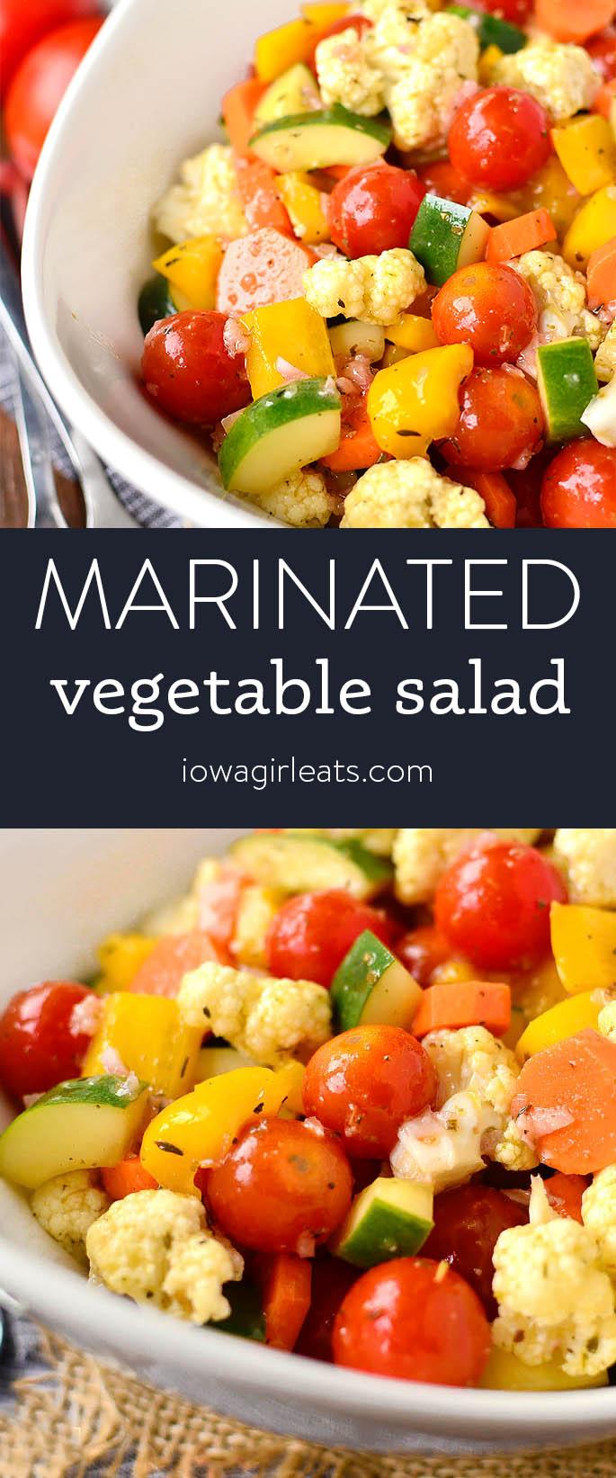 Photo collage of marinated vegetable salad