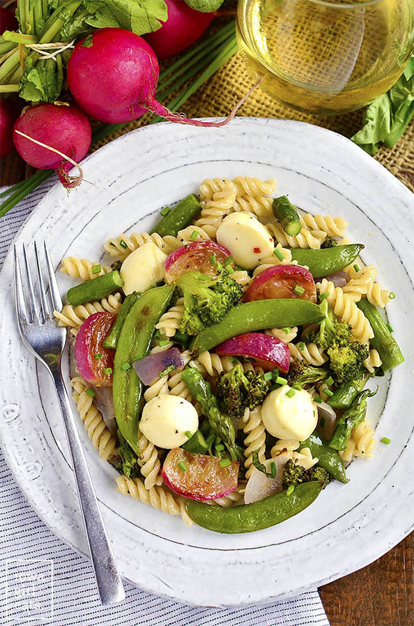 Pasta-with-Roasted-Spring-Vegetables-and-Marinated-Mozzarella-iowagirleats