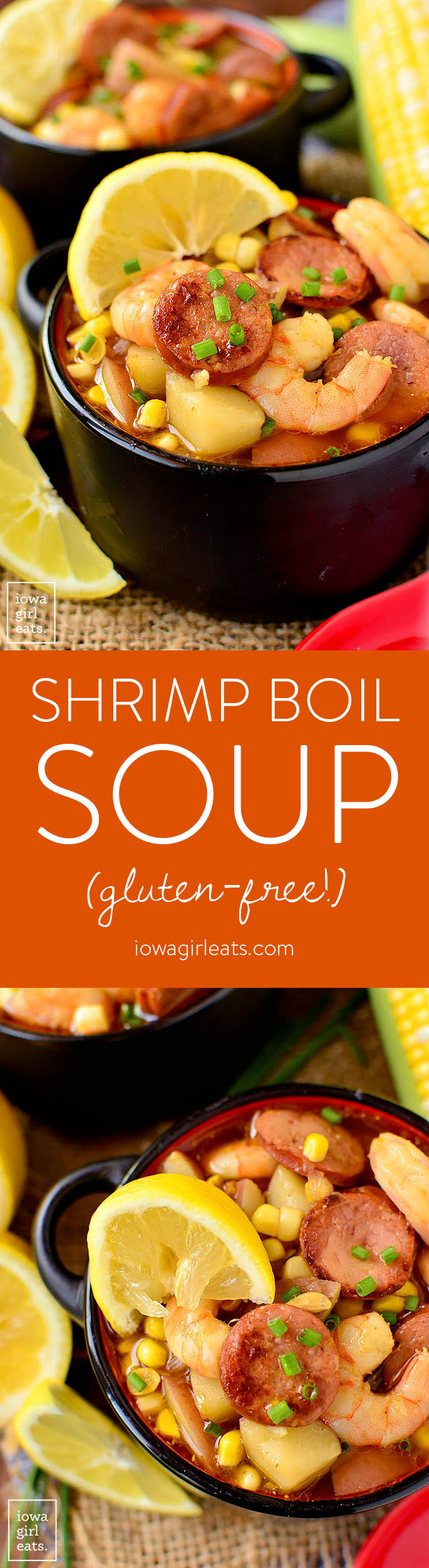 Shrimp Boil Soup has all the flavor of a low-country boil but is made right on the stove top. This quick cooking, gluten-free soup recipe is spicy, savory, and so satisfying.   iowagirleats.com