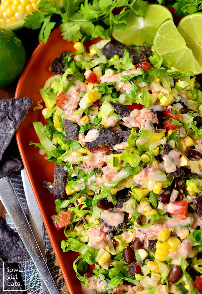 overhead photo of southwestern chopped salad on a serving platter