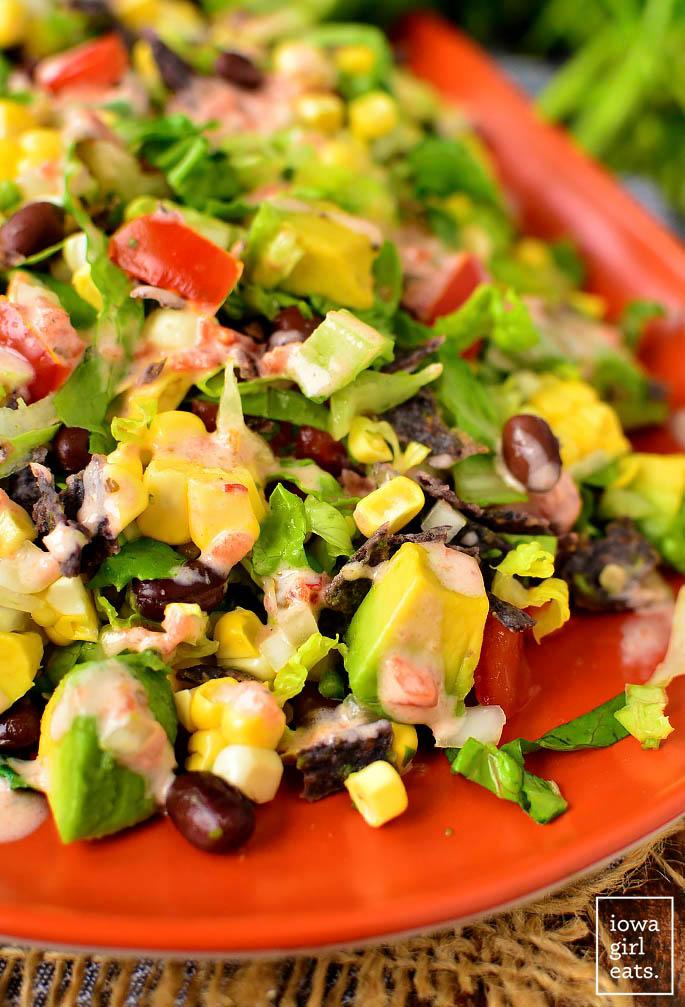 close up photo of southwestern chopped salad