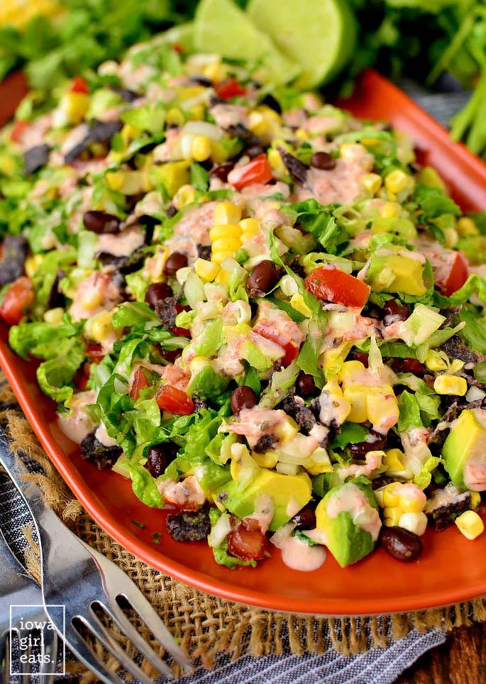 southwestern chopped salad on a serving platter
