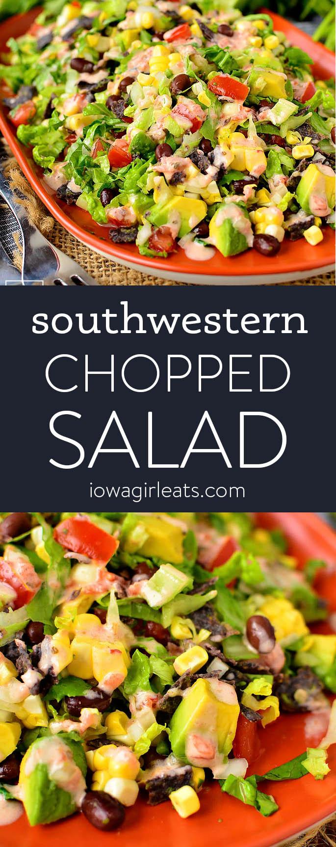 Photo collage of southwestern chopped salad