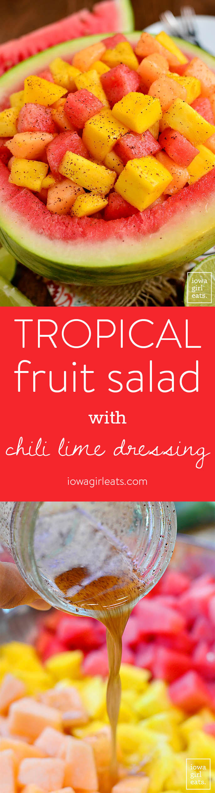 Tropical Fruit Salad with Chili-Lime Dressing is an easy and refreshing fruit salad with a special, must-try twist. | iowagirleats.com