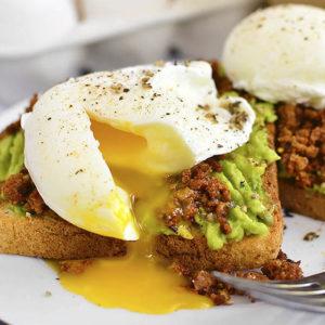Egg and Chorizo Avocado Toasts