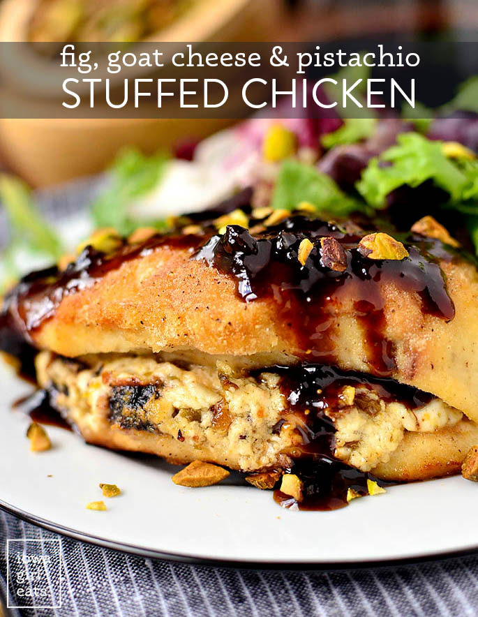 fig and goat cheese stuffed chicken on a plate with sauce