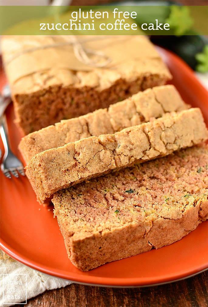slices of gluten free zucchini bread on a platter