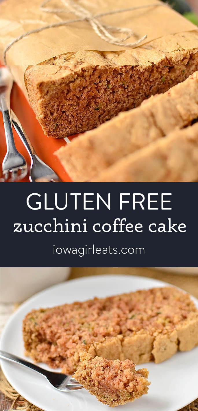 Photo collage of gluten free zucchini coffee cake