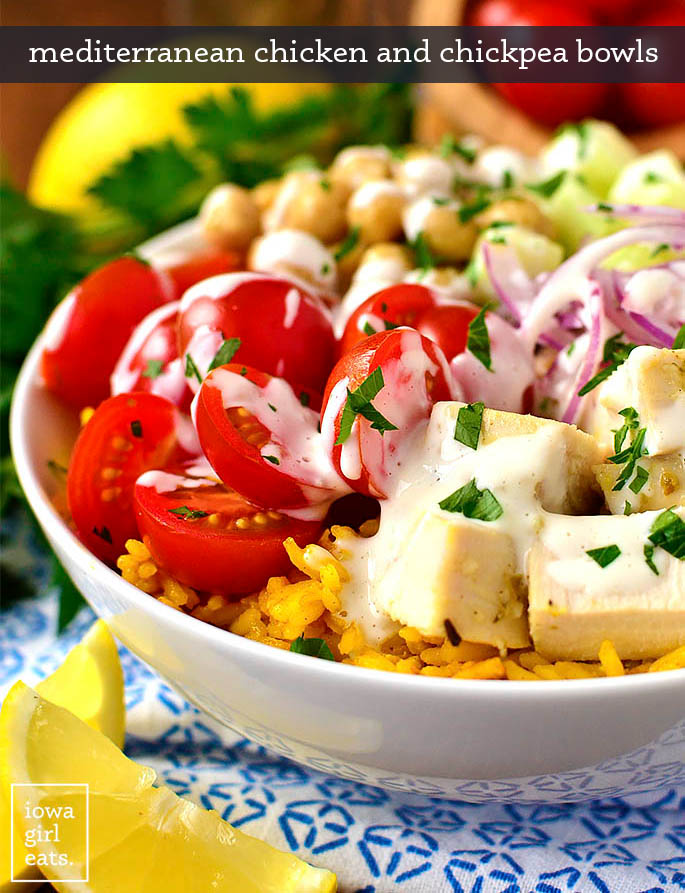 mediterranean chicken and chickpea bowls with fresh toppings