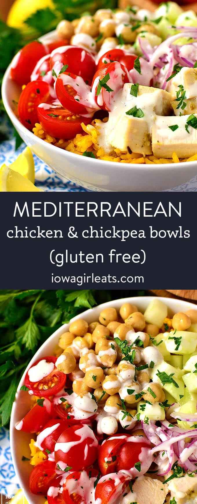 photo collage of mediterranean chicken and chickpea bowls