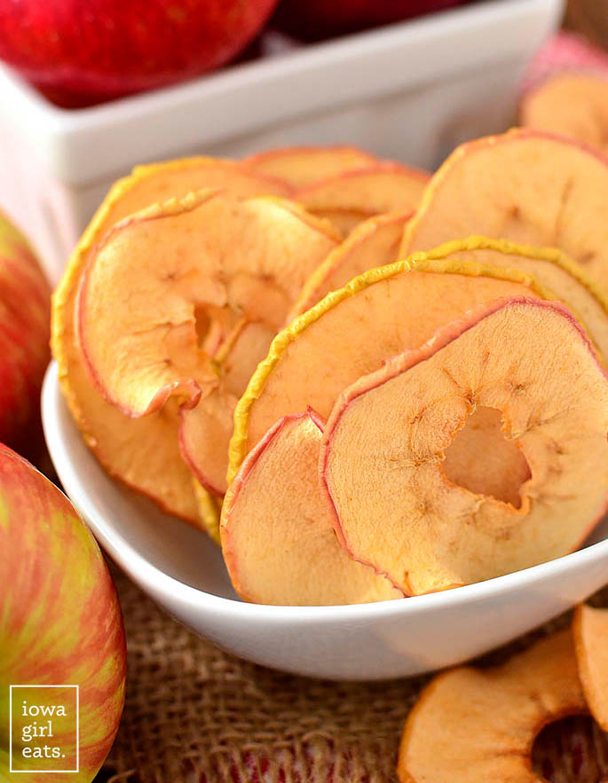 baked apple chips in a dish