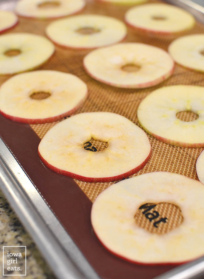 Baked Apple Chips are a healthy snack recipe that will satisfy your craving for something sweet and crunchy. Just slice, bake, and eat!   iowagirleats.com