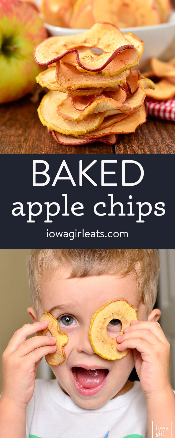 photo collage of baked apple chips
