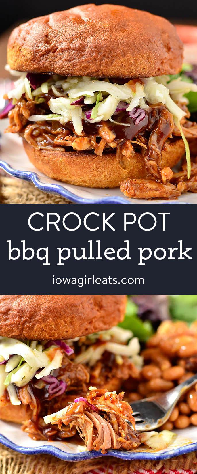 photo collage of crock pot bbq pulled pork