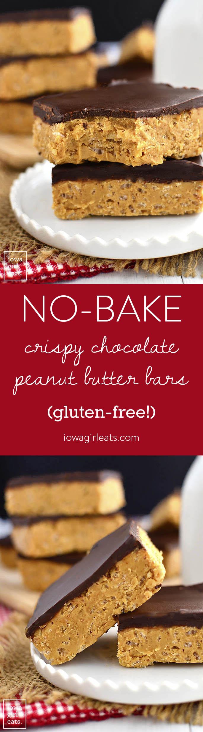No-Bake Crispy Chocolate Peanut Butter Bars are a 5-ingredient dairy-free, gluten-free dessert recipe that taste like a crispy Reese's Peanut Butter Cup! | iowagirleats.com