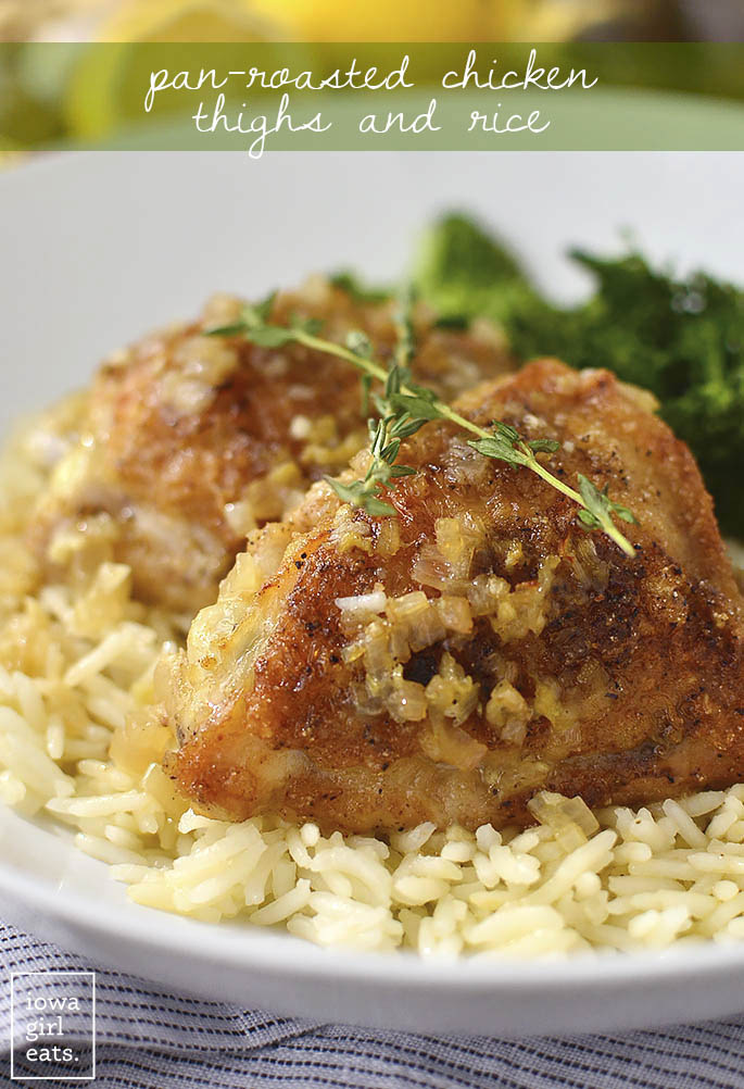 Pan-Roasted Chicken Thighs and Rice is a hearty, gluten-free dinner recipe that will please even the pickiest of eaters. Made with simple, everyday ingredients, this dish is total comfort food!   iowagirleats.com