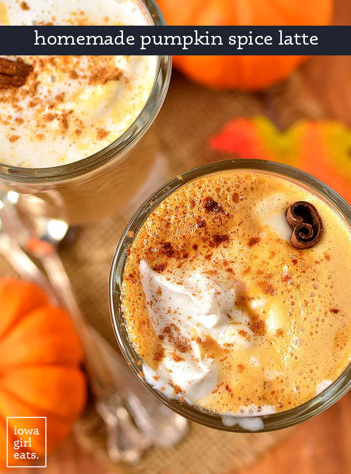 2 glasses of homemade pumpkin spice latte with whipped cream and cinnamon