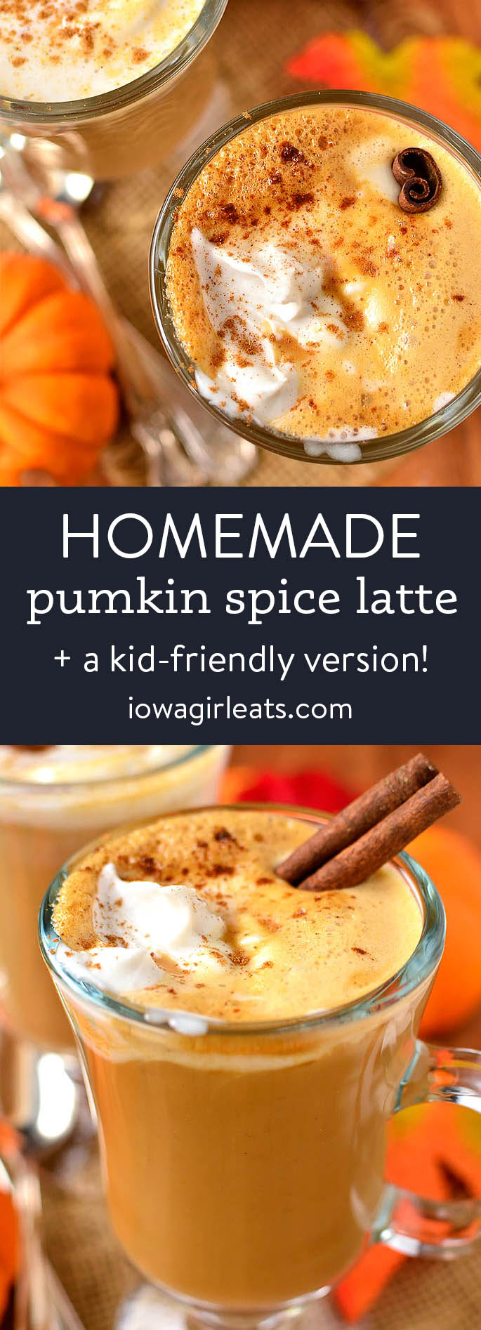 photo collage of homemade pumpkin spice latte