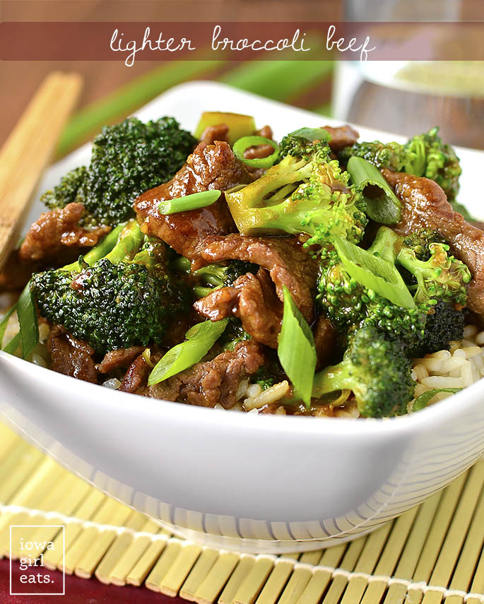 Never order Broccoli Beef takeout again! My copycat, gluten-free Lighter Broccoli Beef is easy to whip up and much lower in fat and sugar than a restaurant's.   iowagirleats.com