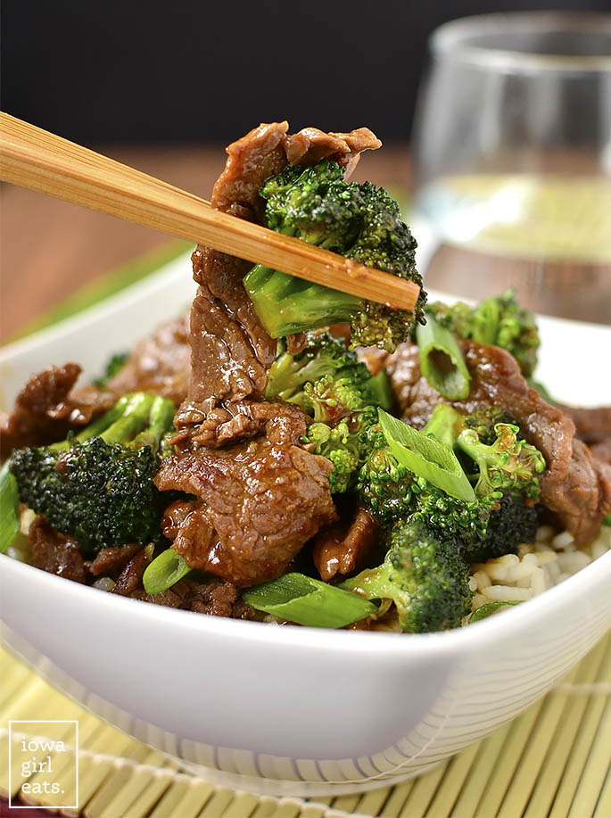Never order Broccoli Beef takeout again! My copycat, gluten-free Beef Broccoli is easy to whip up and much, much lower in fat and sugar than a restaurant's.   iowagirleats.com