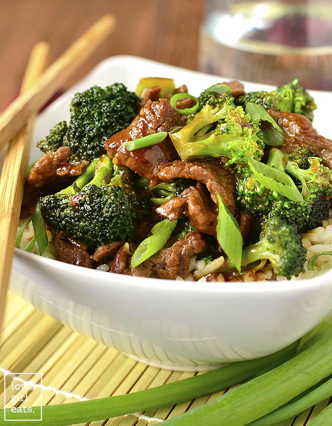 Never order Broccoli Beef takeout again! My copycat, gluten-free Lighter Broccoli Beef is easy to whip up and much, much lower in fat and sugar than a restaurant's.