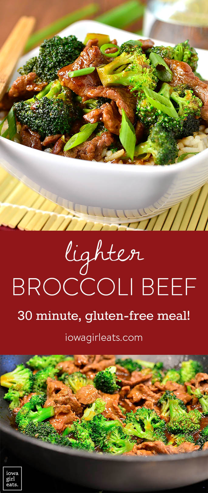 Never order Broccoli Beef takeout again! My copycat, gluten-free Lighter Broccoli Beef is easy to whip up and much lower in fat and sugar than a restaurant's.