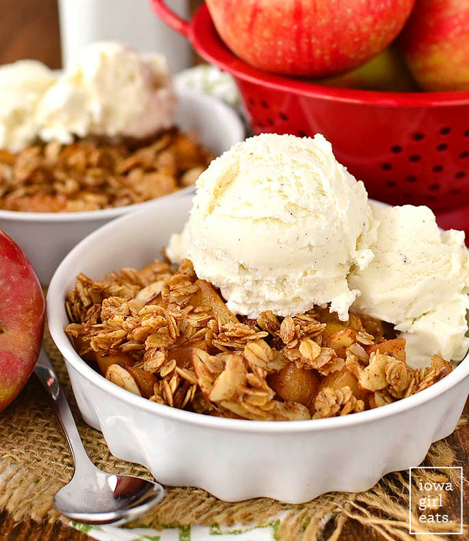 stovetop apple crisp in a dish with ice cream