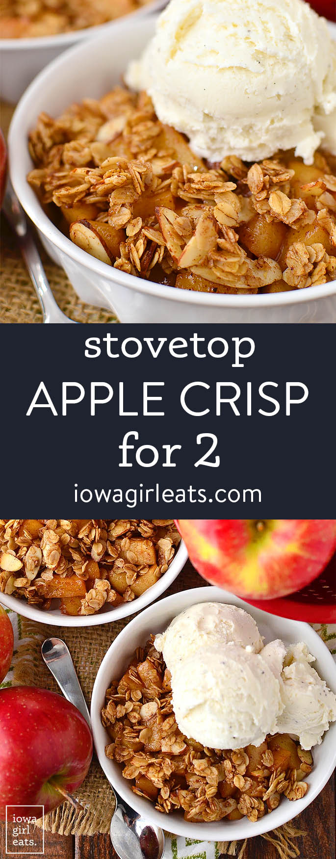 photo collage for stovetop apple crisp