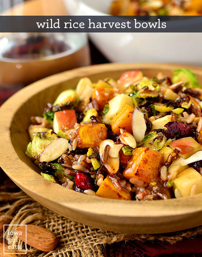 wooden bowl of wild rice harvest bowls