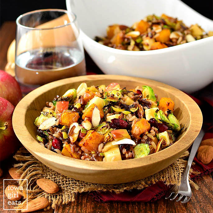 wild rice harvest bowl salads in a serving dish