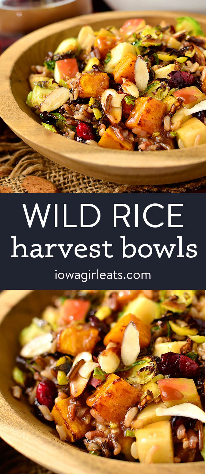 photo collage of wild rice harvest bowls